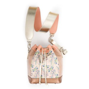 Torebka Mini Bucket Bag - ważki na beżu